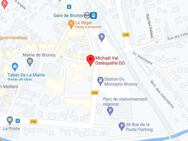 Carte du cabinet de Michaël Val OStéopathe D.O. à Brunoy